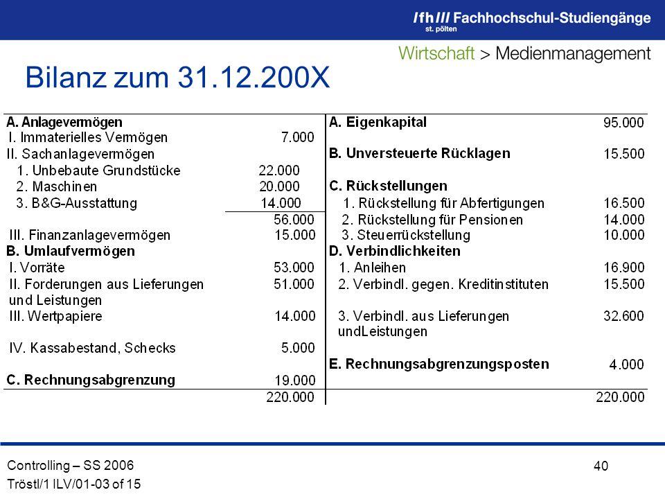 Controlling – SS 2006 Tröstl/1 ILV/01-03 of 15 40 Bilanz zum 31.12.200X