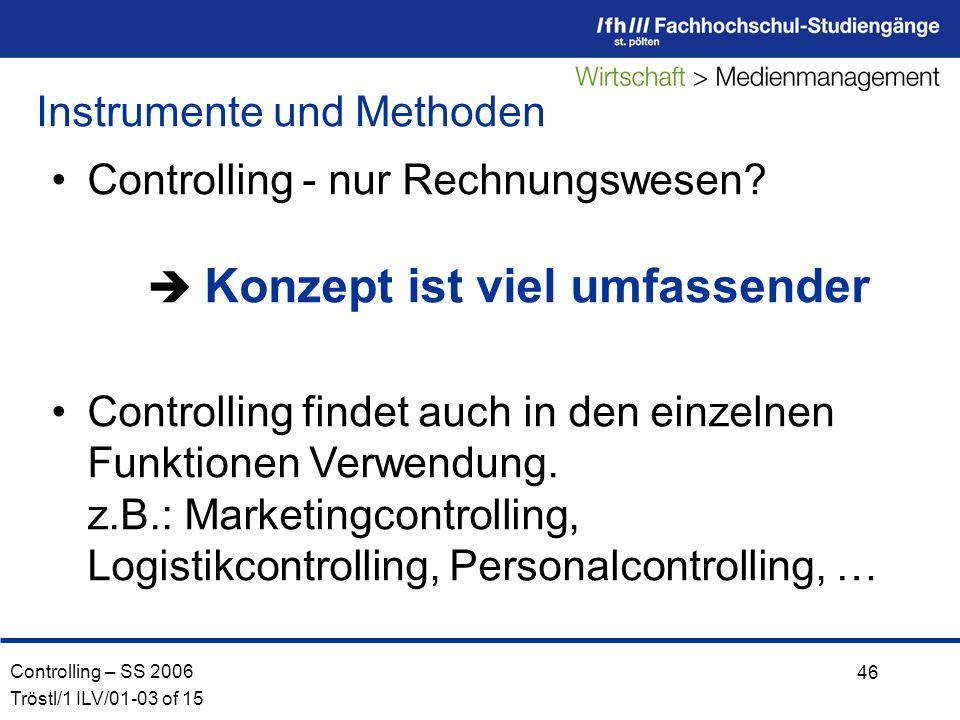 Controlling – SS 2006 Tröstl/1 ILV/01-03 of 15 46 Controlling - nur Rechnungswesen.