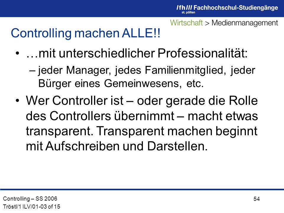 Controlling – SS 2006 Tröstl/1 ILV/01-03 of 15 54 …mit unterschiedlicher Professionalität: –jeder Manager, jedes Familienmitglied, jeder Bürger eines Gemeinwesens, etc.