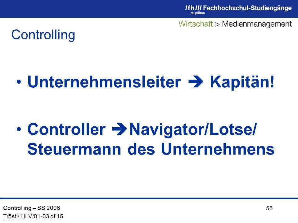 Controlling – SS 2006 Tröstl/1 ILV/01-03 of 15 55 Unternehmensleiter Kapitän.