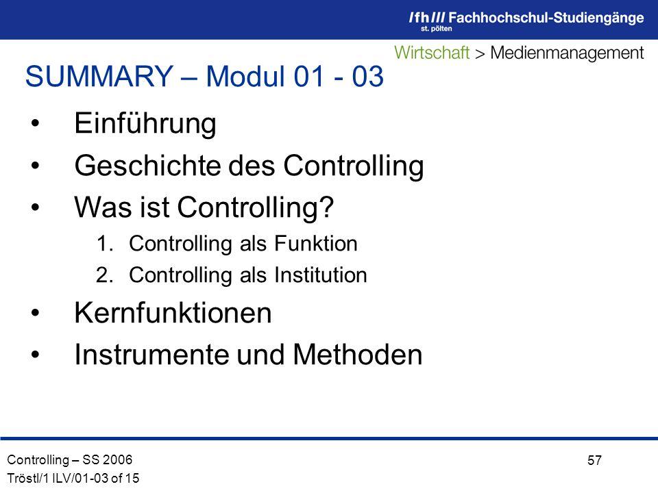Controlling – SS 2006 Tröstl/1 ILV/01-03 of 15 57 SUMMARY – Modul 01 - 03 Einführung Geschichte des Controlling Was ist Controlling.