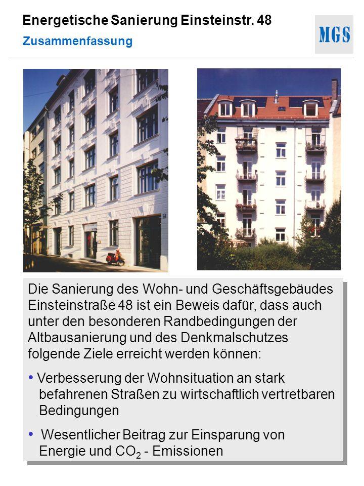 Energetische Sanierung Einsteinstr. 48 Zusammenfassung Die Sanierung des Wohn- und Geschäftsgebäudes Einsteinstraße 48 ist ein Beweis dafür, dass auch
