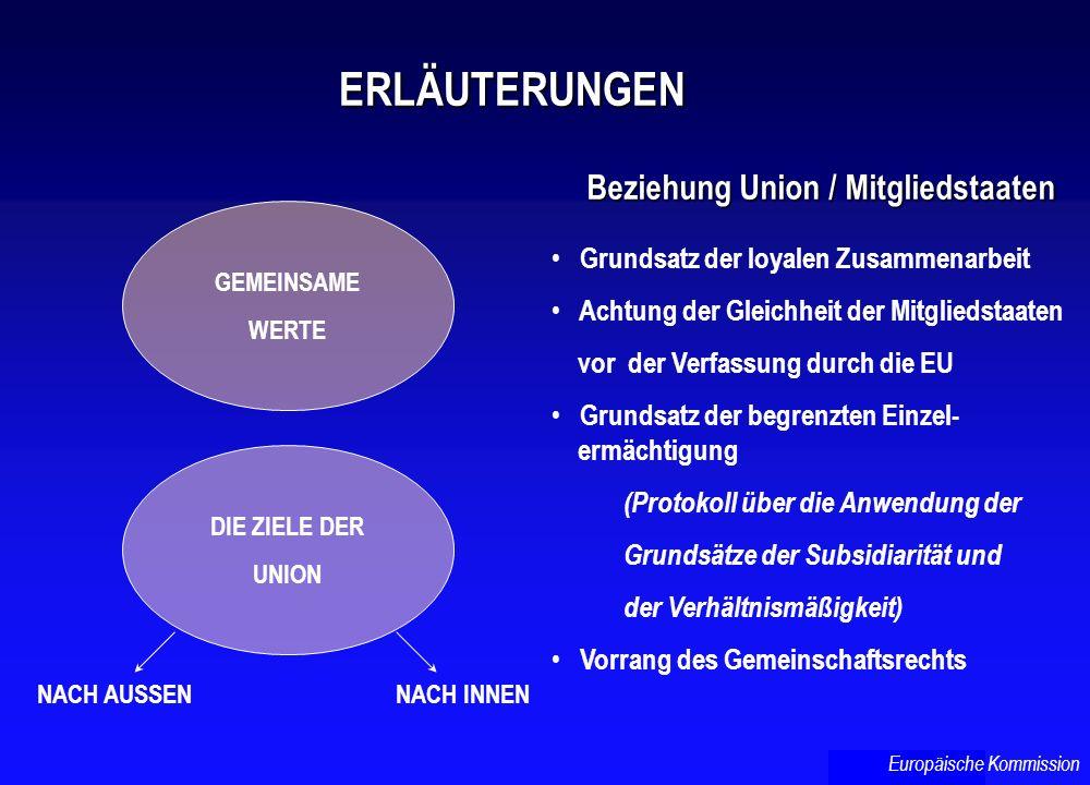 ERLÄUTERUNGEN Beziehung Union / Mitgliedstaaten Beziehung Union / Mitgliedstaaten GEMEINSAME WERTE DIE ZIELE DER UNION NACH AUSSENNACH INNEN Grundsatz