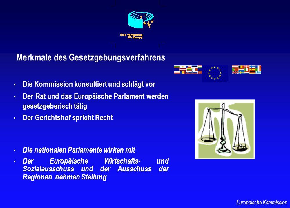 Merkmale des Gesetzgebungsverfahrens Die Kommission konsultiert und schlägt vor Der Rat und das Europäische Parlament werden gesetzgeberisch tätig Der