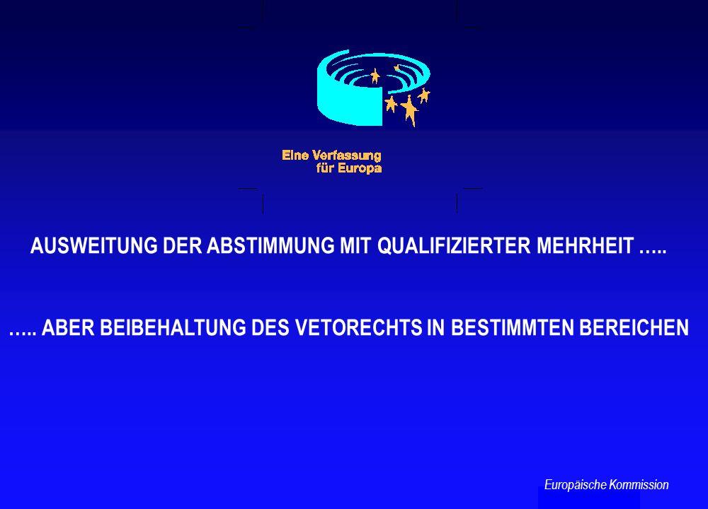 AUSWEITUNG DER ABSTIMMUNG MIT QUALIFIZIERTER MEHRHEIT ….. ….. ABER BEIBEHALTUNG DES VETORECHTS IN BESTIMMTEN BEREICHEN Europäische Kommission