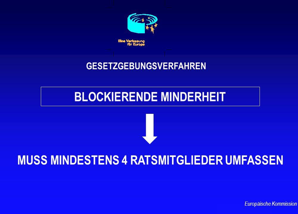 BLOCKIERENDE MINDERHEIT GESETZGEBUNGSVERFAHREN MUSS MINDESTENS 4 RATSMITGLIEDER UMFASSEN Europäische Kommission