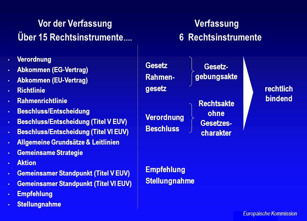 Vor der Verfassung Über 15 Rechtsinstrumente …. Verordnung Abkommen (EG-Vertrag) Abkommen (EU-Vertrag) Richtlinie Rahmenrichtlinie Beschluss/Entscheid