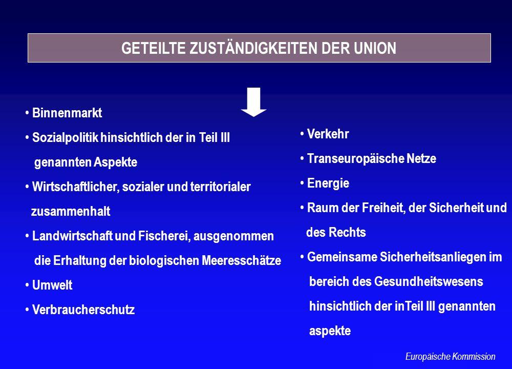 GETEILTE ZUSTÄNDIGKEITEN DER UNION Binnenmarkt Sozialpolitik hinsichtlich der in Teil III genannten Aspekte Wirtschaftlicher, sozialer und territorial
