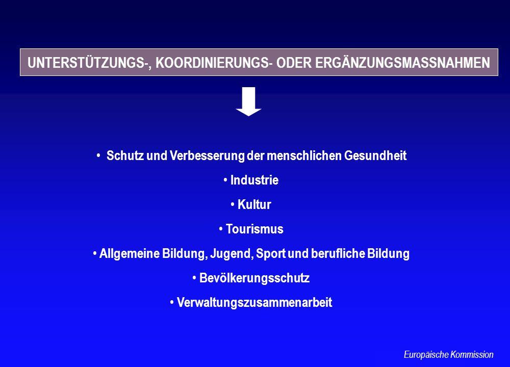 Schutz und Verbesserung der menschlichen Gesundheit Industrie Kultur Tourismus Allgemeine Bildung, Jugend, Sport und berufliche Bildung Bevölkerungssc