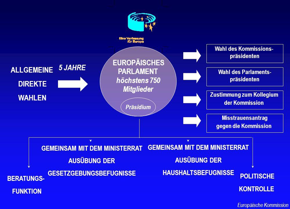 ALLGEMEINE DIREKTE WAHLEN EUROPÄISCHES PARLAMENT höchstens 750 Mitglieder 5 JAHRE Wahl des Kommissions- präsidenten Wahl des Parlaments- präsidenten G