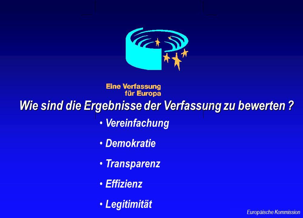 EIN EINZIGER TEXT DIE EUROPÄISCHE UNION ERHÄLT RECHTSPERSÖNLICHKEIT ALLGEMEINE ANWENDUNG DES GESETZGEBUNGSVERFAHRENS GERINGERE ANZAHL VON INSTRUMENTEN BESSERE ABGRENZUNG DER ZUSTÄNDIGKEITEN Europäische Kommission