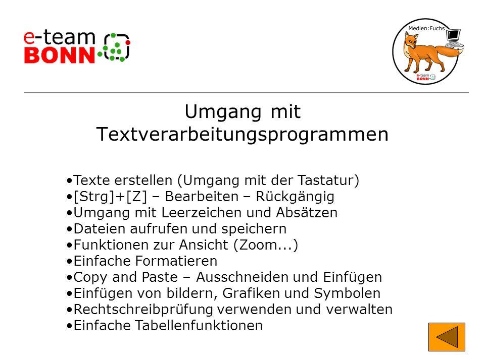 Umgang mit Textverarbeitungsprogrammen Texte erstellen (Umgang mit der Tastatur) [Strg]+[Z] – Bearbeiten – Rückgängig Umgang mit Leerzeichen und Absät