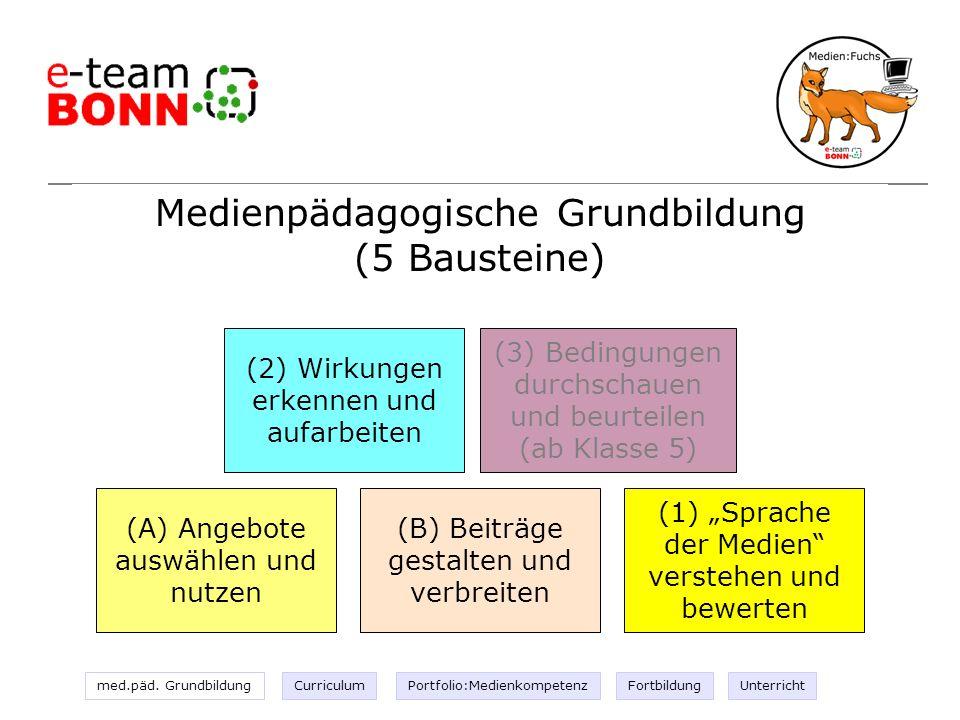 med.päd. GrundbildungCurriculumPortfolio:MedienkompetenzFortbildungUnterricht Medienpädagogische Grundbildung (5 Bausteine) (A) Angebote auswählen und