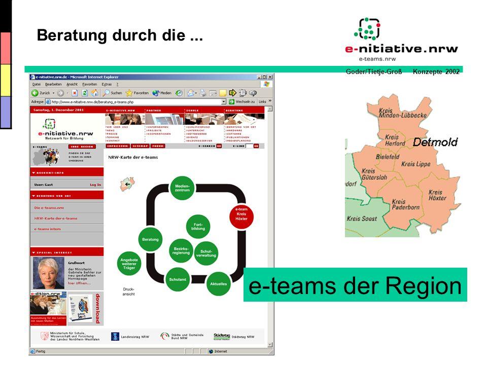 Goder/Tietje-Groß Konzepte 2002 e-teams der Region Beratung durch die...
