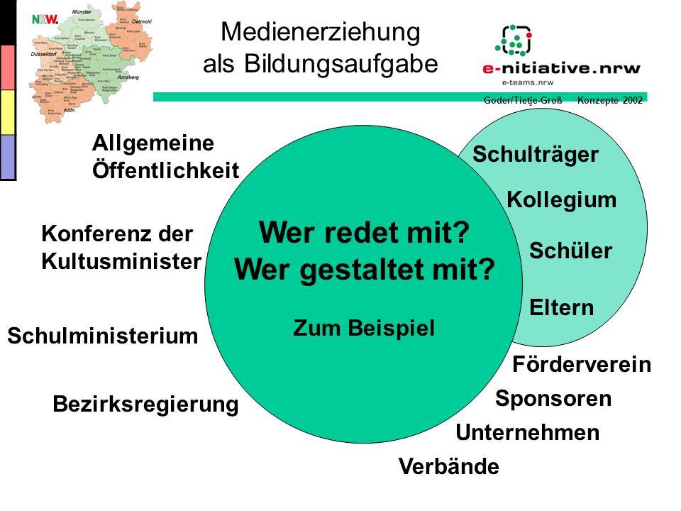 Goder/Tietje-Groß Konzepte 2002 Medienerziehung als Bildungsaufgabe Schulministerium Konferenz der Kultusminister Allgemeine Öffentlichkeit Bezirksreg