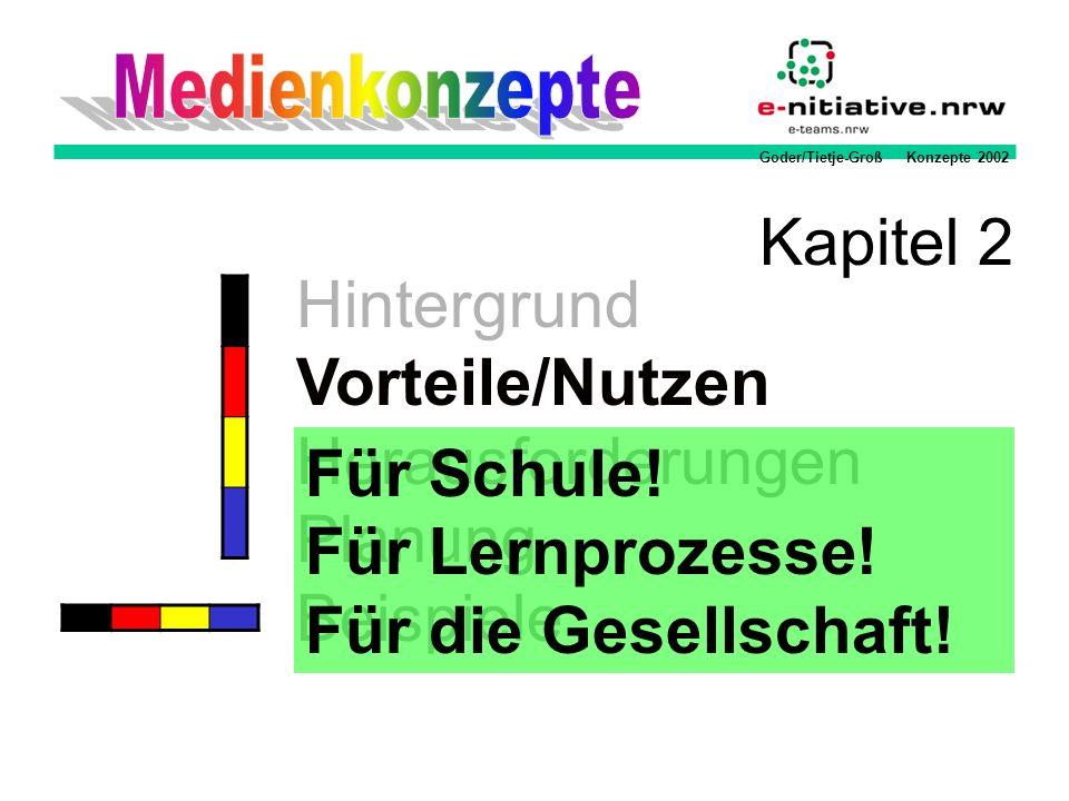 Goder/Tietje-Groß Konzepte 2002 Hintergrund Vorteile/Nutzen Herausforderungen Planung Beispiele Kapitel 2 Für Schule! Für Lernprozesse! Für die Gesell
