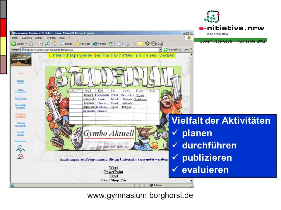 Goder/Tietje-Groß Konzepte 2002 Vielfalt der Aktivitäten planen durchführen publizieren evaluieren www.gymnasium-borghorst.de