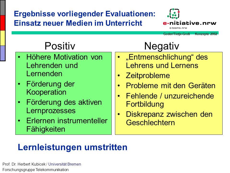 Goder/Tietje-Groß Konzepte 2002 Ergebnisse vorliegender Evaluationen: Einsatz neuer Medien im Unterricht Höhere Motivation von Lehrenden und Lernenden
