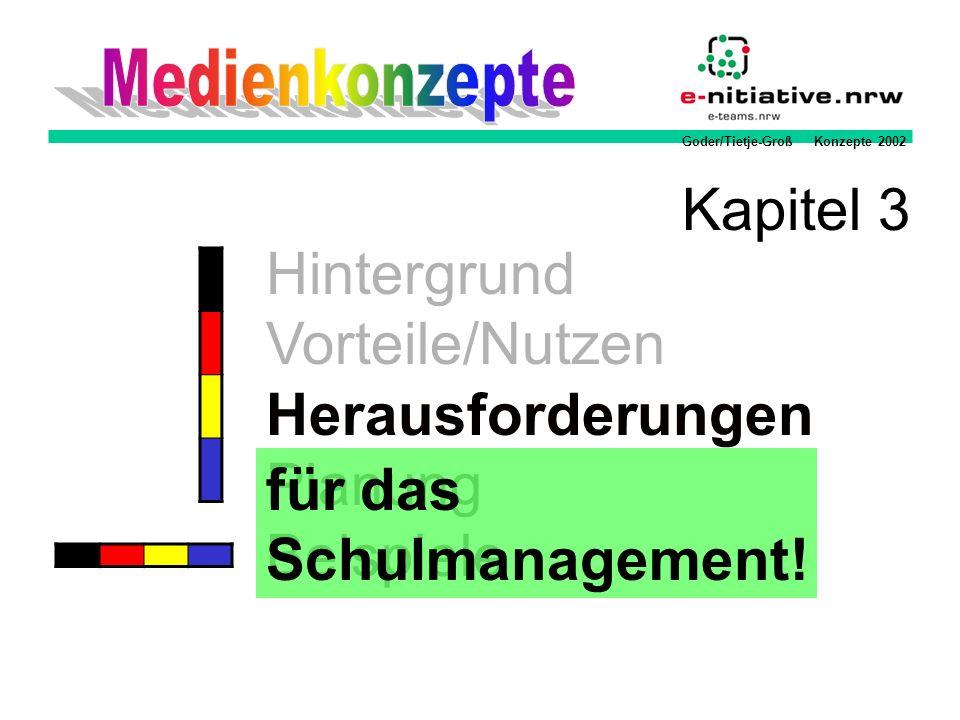 Goder/Tietje-Groß Konzepte 2002 Hintergrund Vorteile/Nutzen Herausforderungen Planung Beispiele Kapitel 3 für das Schulmanagement!