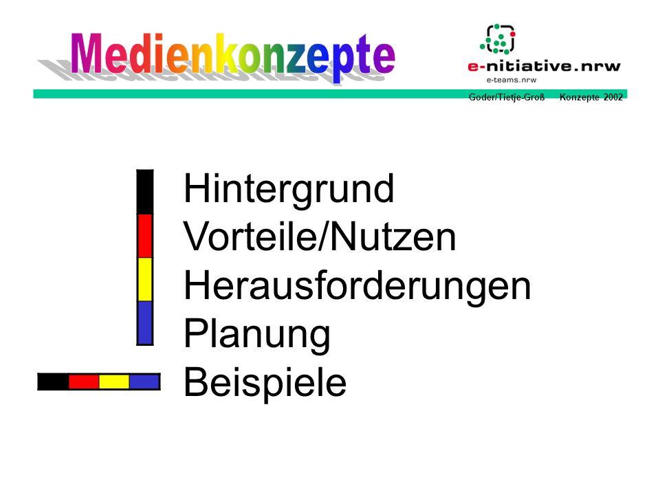Goder/Tietje-Groß Konzepte 2002 Der Arbeitskreis Medien Arbeitskreis Medien / Medienbeauftragter sammelt die Ideen und koordiniert die Umsetzung Bildungsgang / Fachkonferenzen entwickeln Nutzungskonzepte und formulieren Qualifizierungs- und Ausstattungsbedarf