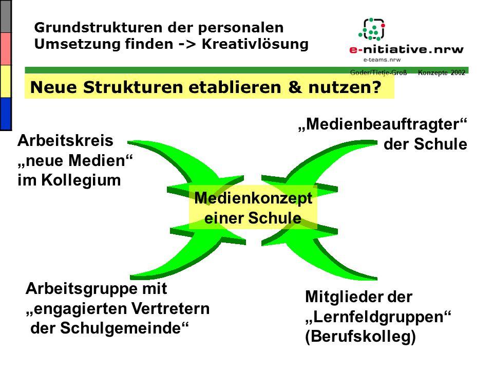 Goder/Tietje-Groß Konzepte 2002 Medienkonzept einer Schule Neue Strukturen etablieren & nutzen? Arbeitskreis neue Medien im Kollegium Arbeitsgruppe mi