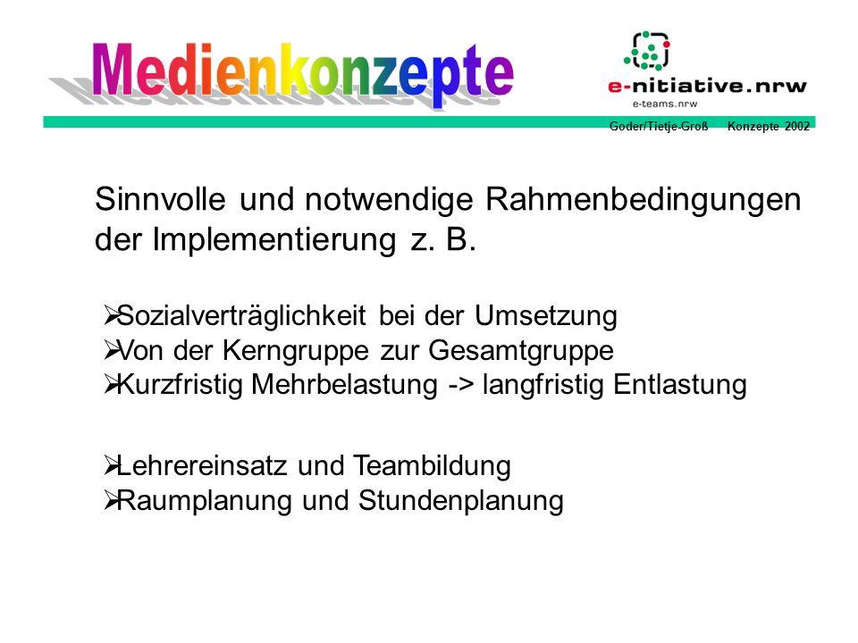 Goder/Tietje-Groß Konzepte 2002 Sinnvolle und notwendige Rahmenbedingungen der Implementierung z. B. Sozialverträglichkeit bei der Umsetzung Von der K