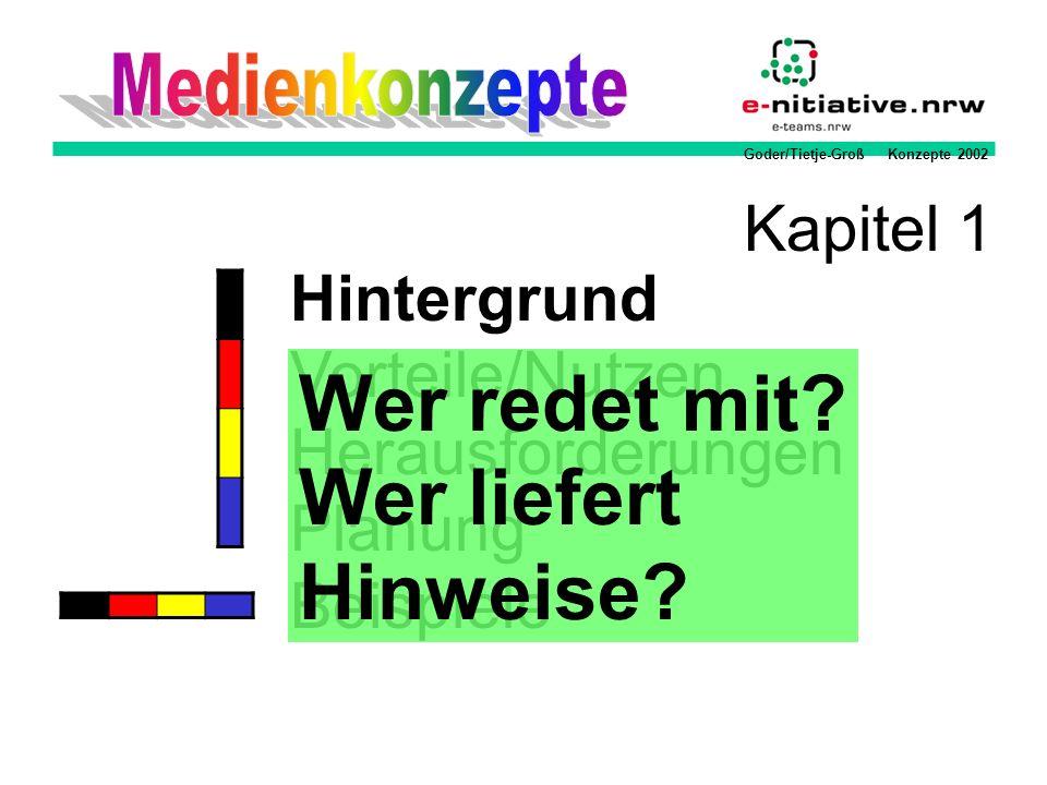 Goder/Tietje-Groß Konzepte 2002 Methodik Aufgabenfelder der Medienpädagogik (Orientierung für Nutzungskonzepte) Medienbildung Information Präsentation Kommunikation Medienerziehung Reflexion