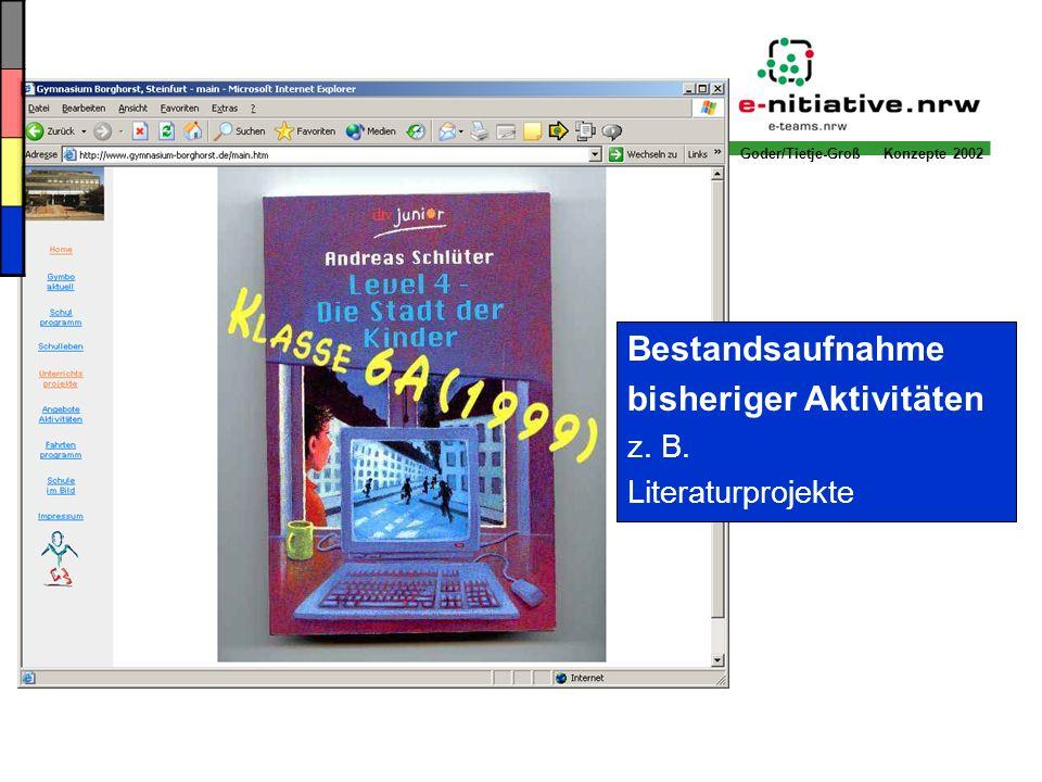 Goder/Tietje-Groß Konzepte 2002 Bestandsaufnahme bisheriger Aktivitäten z. B. Literaturprojekte