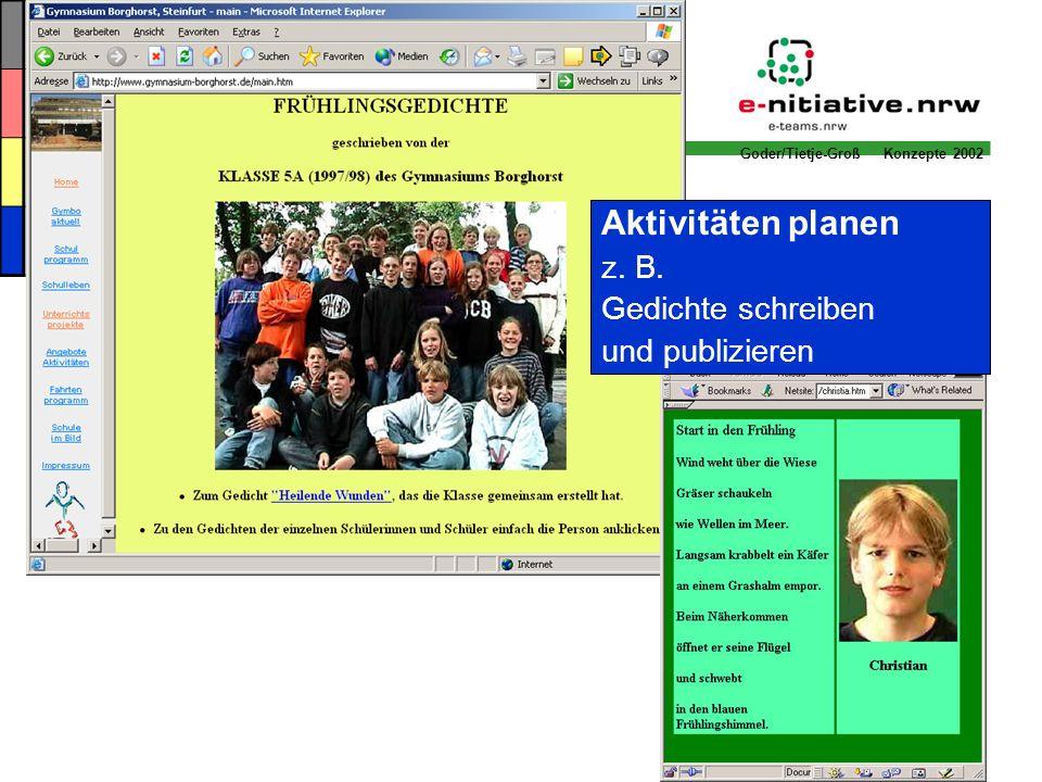 Goder/Tietje-Groß Konzepte 2002 Aktivitäten planen z. B. Gedichte schreiben und publizieren