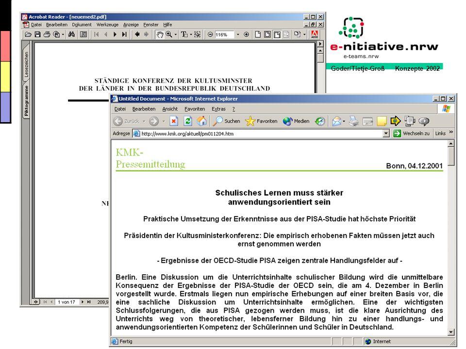 Goder/Tietje-Groß Konzepte 2002 0,0 10,0 20,0 30,0 40,0 50,0 60,0 70,0 80,0 90,0 100,0 1234 % 1997 1998 1999 2000 Quelle: ARD/ZDF-Online Survey 1997 bis 2000 27,8 %-Punkte Abstand zwischen dem Anteil der Hauptschüler und dem der Hochschul- absolventen Hauptschule Realschule Gymnasium Hochschule 78,5 %-Punkte Abstand zwischen dem Anteil der Hauptschüler und dem der Hochschul- absolventen Prof.