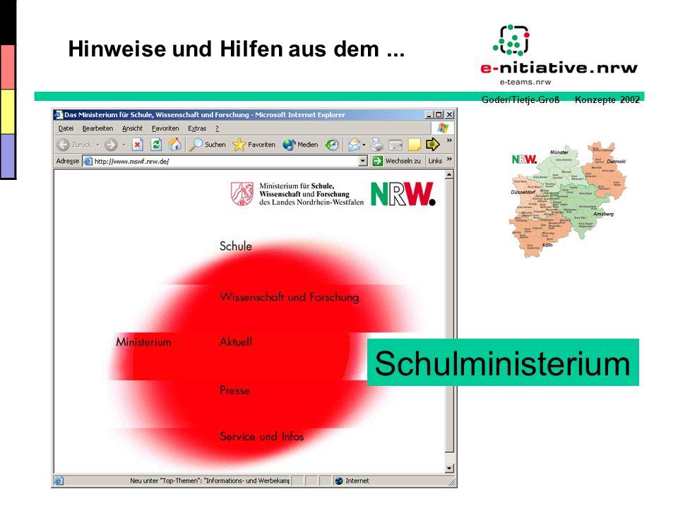 Goder/Tietje-Groß Konzepte 2002 Schulministerium Hinweise und Hilfen aus dem...