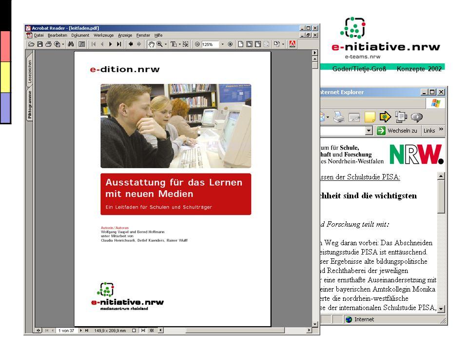 Goder/Tietje-Groß Konzepte 2002 Der Initiator Ein Initiator/eine Initiatorin stellt der Lehrerkonferenz die notwendigen Inhalte des Medienkonzeptes vor Mit interessierten KollegInnen wird ein Arbeitskreis Medien gebildet Ziel des AK Medien ist die Planung und Umsetzung eines schuleigenen Medienkonzeptes