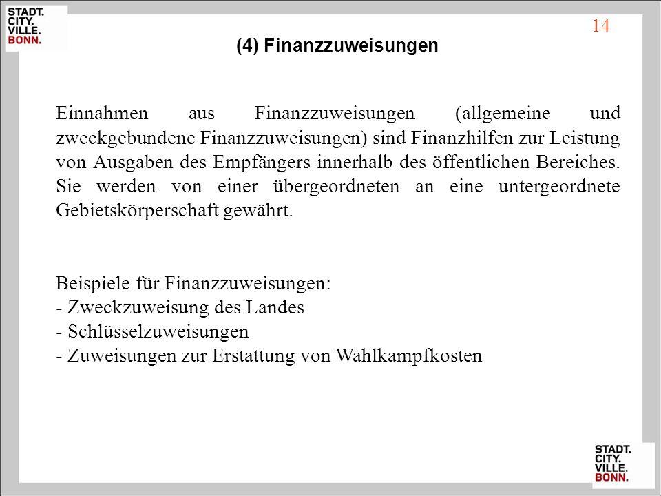 14 (4) Finanzzuweisungen Einnahmen aus Finanzzuweisungen (allgemeine und zweckgebundene Finanzzuweisungen) sind Finanzhilfen zur Leistung von Ausgaben
