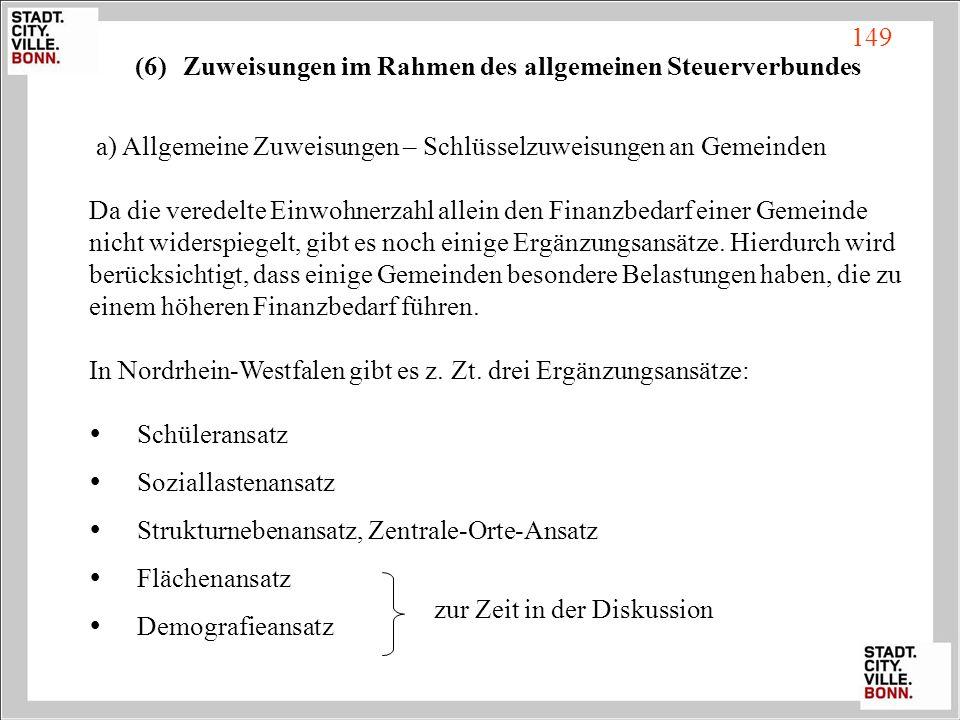 (6)Zuweisungen im Rahmen des allgemeinen Steuerverbundes a) Allgemeine Zuweisungen – Schlüsselzuweisungen an Gemeinden Da die veredelte Einwohnerzahl