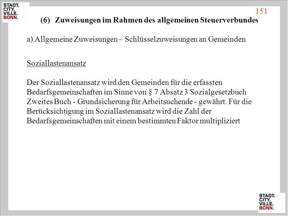 (6)Zuweisungen im Rahmen des allgemeinen Steuerverbundes a) Allgemeine Zuweisungen – Schlüsselzuweisungen an Gemeinden Soziallastenansatz Der Sozialla
