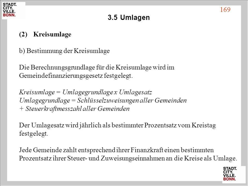 3.5Umlagen (2) Kreisumlage b) Bestimmung der Kreisumlage Die Berechnungsgrundlage für die Kreisumlage wird im Gemeindefinanzierungsgesetz festgelegt.