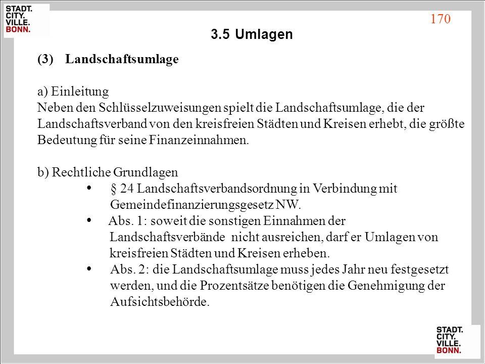 3.5Umlagen (3) Landschaftsumlage a) Einleitung Neben den Schlüsselzuweisungen spielt die Landschaftsumlage, die der Landschaftsverband von den kreisfr
