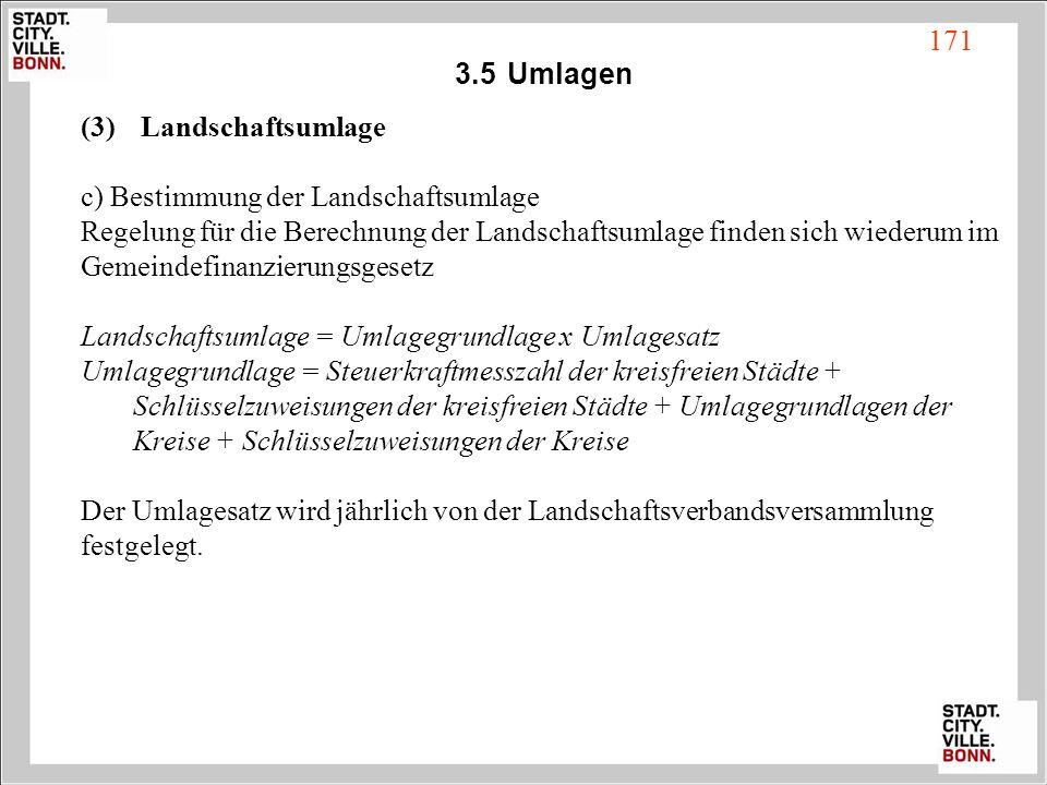 3.5Umlagen (3) Landschaftsumlage c) Bestimmung der Landschaftsumlage Regelung für die Berechnung der Landschaftsumlage finden sich wiederum im Gemeind