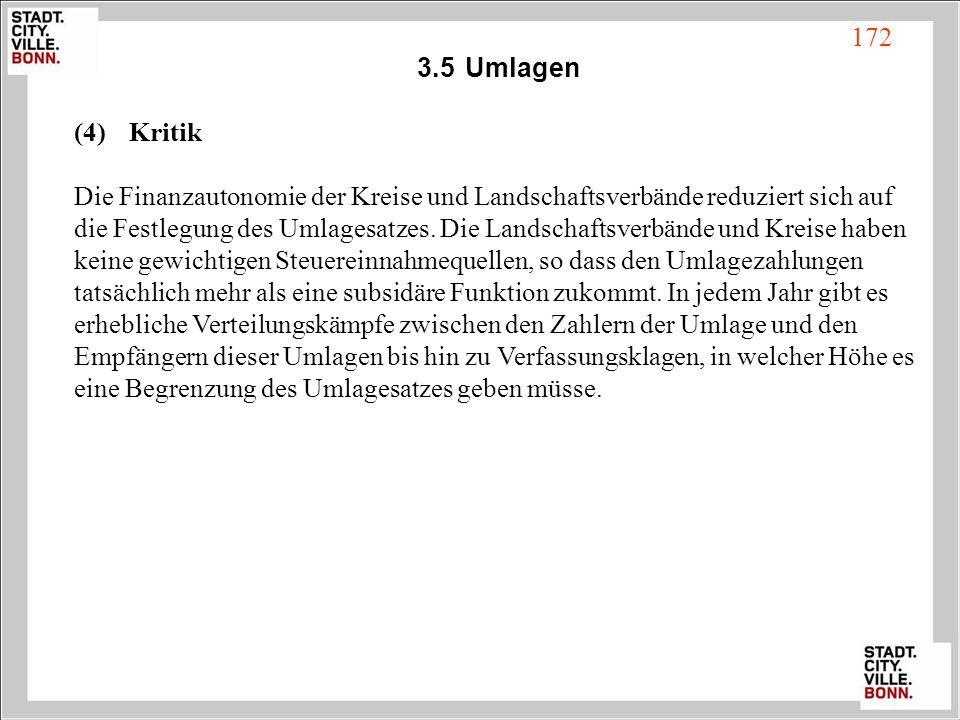 3.5Umlagen (4) Kritik Die Finanzautonomie der Kreise und Landschaftsverbände reduziert sich auf die Festlegung des Umlagesatzes. Die Landschaftsverbän