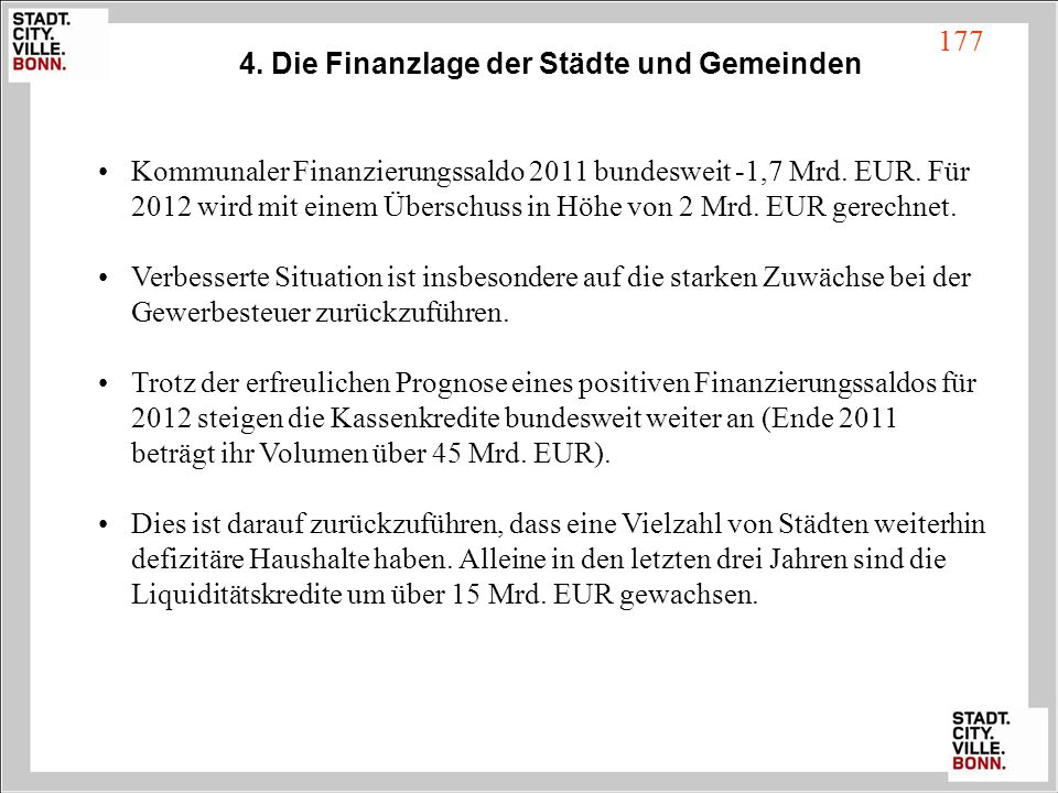 4. Die Finanzlage der Städte und Gemeinden Kommunaler Finanzierungssaldo 2011 bundesweit -1,7 Mrd. EUR. Für 2012 wird mit einem Überschuss in Höhe von