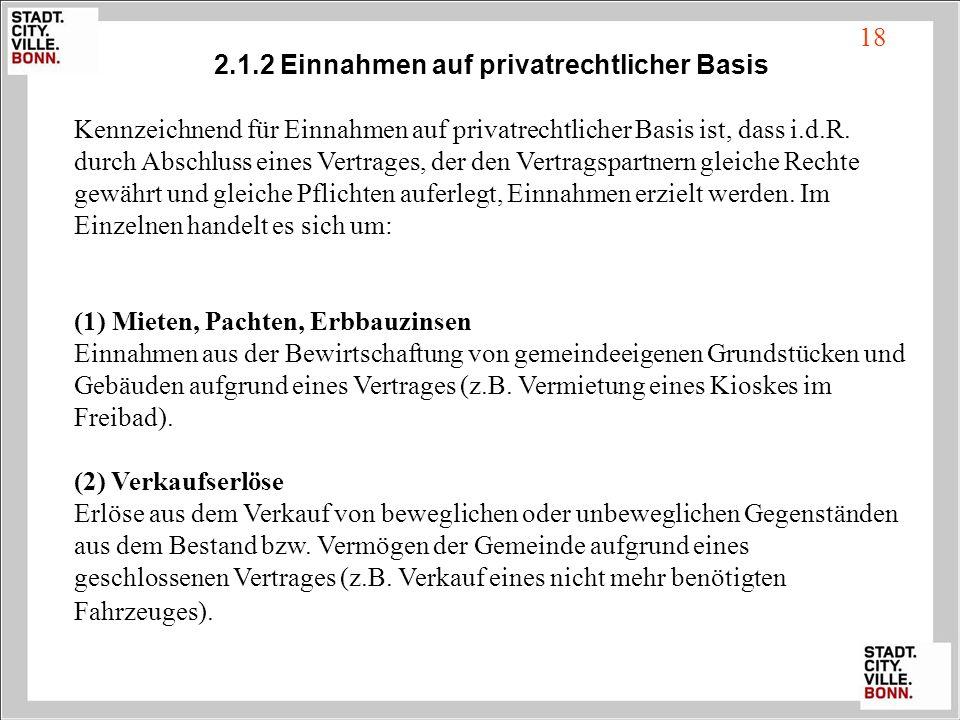 18 2.1.2 Einnahmen auf privatrechtlicher Basis Kennzeichnend für Einnahmen auf privatrechtlicher Basis ist, dass i.d.R. durch Abschluss eines Vertrage