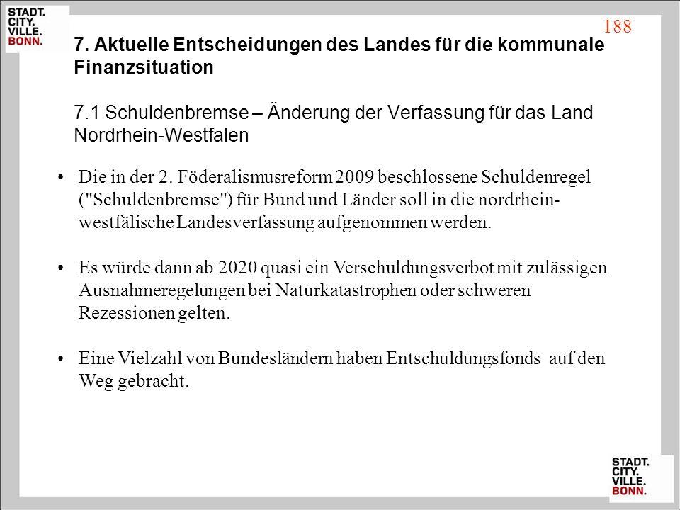 7. Aktuelle Entscheidungen des Landes für die kommunale Finanzsituation 7.1 Schuldenbremse – Änderung der Verfassung für das Land Nordrhein-Westfalen