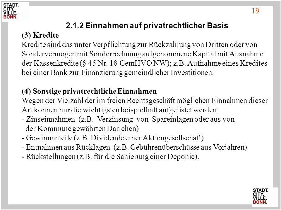 19 2.1.2 Einnahmen auf privatrechtlicher Basis (3) Kredite Kredite sind das unter Verpflichtung zur Rückzahlung von Dritten oder von Sondervermögen mi