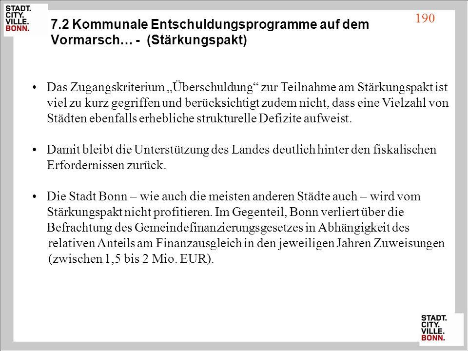 7.2 Kommunale Entschuldungsprogramme auf dem Vormarsch… - (Stärkungspakt) Das Zugangskriterium Überschuldung zur Teilnahme am Stärkungspakt ist viel z