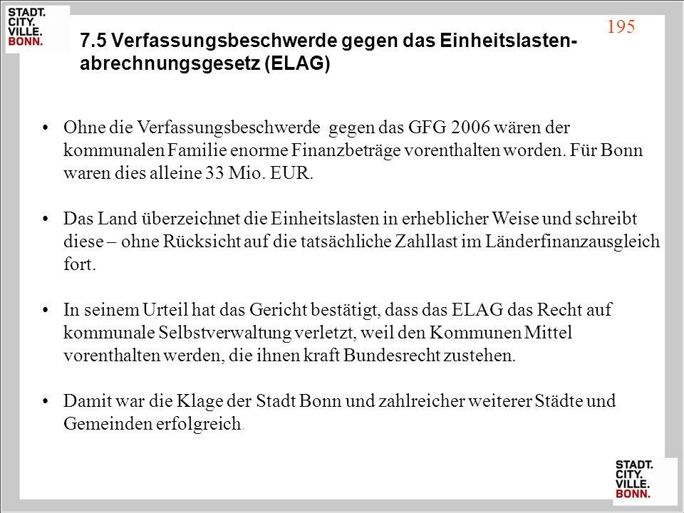 7.5 Verfassungsbeschwerde gegen das Einheitslasten- abrechnungsgesetz (ELAG) Ohne die Verfassungsbeschwerde gegen das GFG 2006 wären der kommunalen Fa