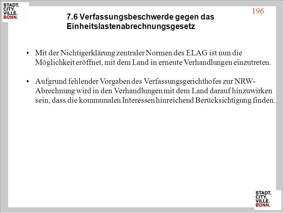 7.6 Verfassungsbeschwerde gegen das Einheitslastenabrechnungsgesetz Mit der Nichtigerklärung zentraler Normen des ELAG ist nun die Möglichkeit eröffne