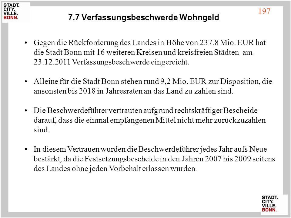 7.7 Verfassungsbeschwerde Wohngeld Gegen die Rückforderung des Landes in Höhe von 237,8 Mio. EUR hat die Stadt Bonn mit 16 weiteren Kreisen und kreisf