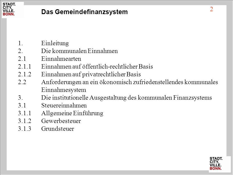 Das Gemeindefinanzsystem 1.Einleitung 2.Die kommunalen Einnahmen 2.1Einnahmearten 2.1.1Einnahmen auf öffentlich-rechtlicher Basis 2.1.2Einnahmen auf p