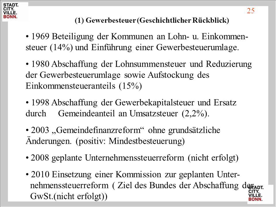 1969 Beteiligung der Kommunen an Lohn- u. Einkommen- steuer (14%) und Einführung einer Gewerbesteuerumlage. 1980 Abschaffung der Lohnsummensteuer und