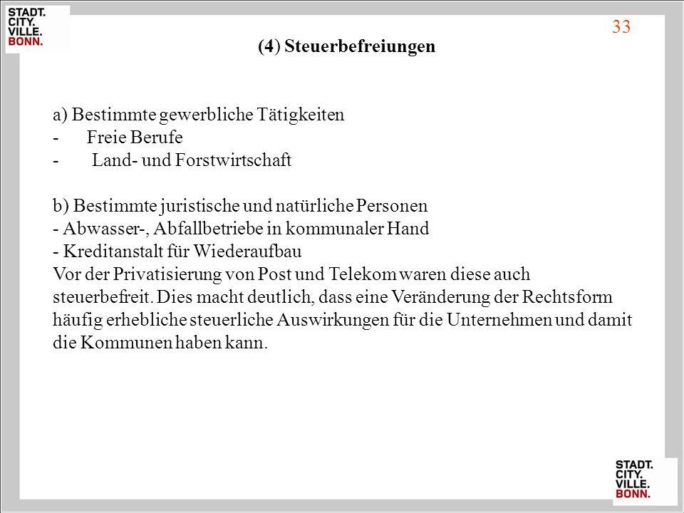 (4) Steuerbefreiungen a) Bestimmte gewerbliche Tätigkeiten - Freie Berufe - Land- und Forstwirtschaft b) Bestimmte juristische und natürliche Personen